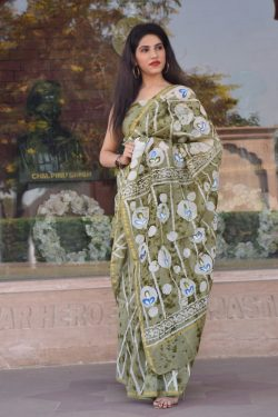 Olive chanderi silk saree with price