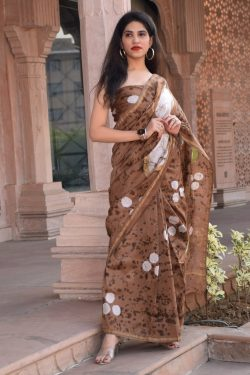 Coffee chanderi silk saree