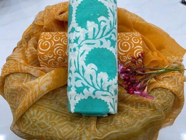 Cyan And copper pure cotton salwar suit with chiffon chunni