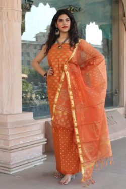 Orange cotton salwar suit kota silk dupatta suit