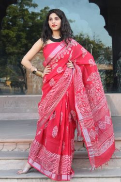 Charry red Handloom cotton linen saree with printed cotton blouse