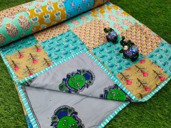 cyan pure cotton Hand stitched AC Quilt Dohar Patch work