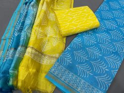 Yellow and Cyan chanderi suit piece online