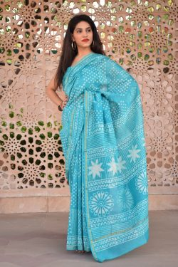 Cyan chanderi silk saree buy online