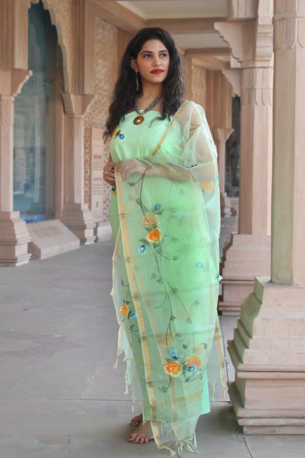 Aquamarine cotton suit with kota silk dupatta