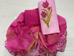 Superior quality Pink floral print Zari border suit set