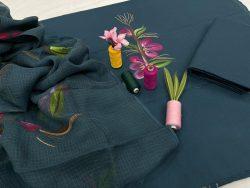 Teal Blue ladies dresses for office wear cotton suit kota dupatta