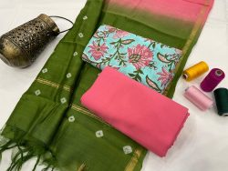 green and pink cotton suit with chanderi dupatta