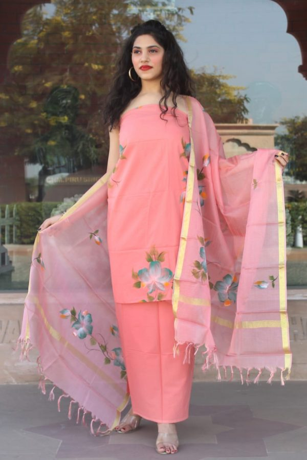 Light Salmon Pink Hand painted cotton suit with heavy dupatta