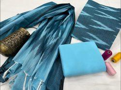 Azure jaipuri hand block printed ikkat suit set
