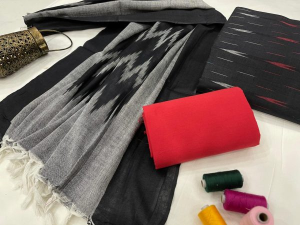Black jaipuri ikkat suit set