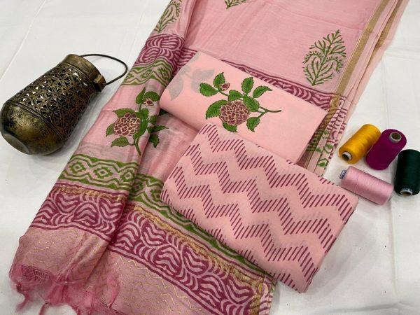 Pink cotton slawar suit with dupatta