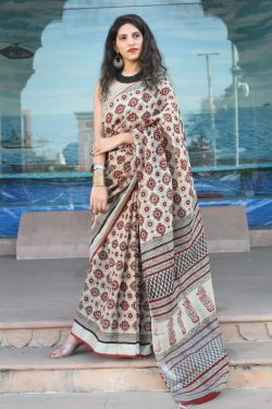 Carmine and desertsand linen saree