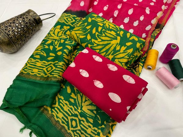 Green and magenta ethnic wear ladies suit with chanderi dupatta