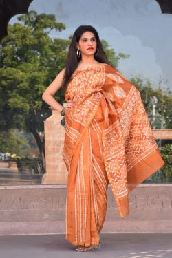 Orange chanderi handloom saree