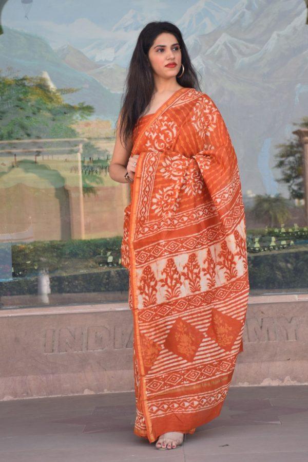 Orange chanderi silk saree online
