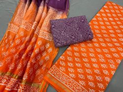 Orange chanderi cotton suit material