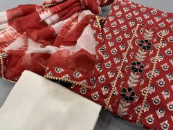 Fire Brick and white embroidered suit online india