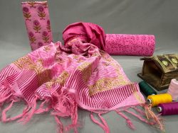 Pink chanderi silk party wear suits