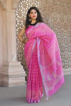 Magenta Handloom cotton linen saree