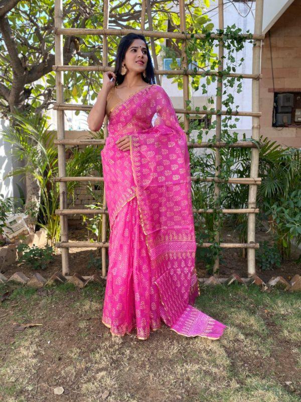 Magenta rose organza silk banarasi saree