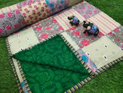 Green and silver pure cotton Hand stitched AC Quilt Dohar Patch work