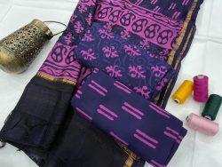 Indigo blue cotton salwar suit with chanderi dupatta set