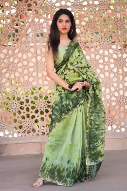 Earls green and Light Olivine chanderi silk saree design