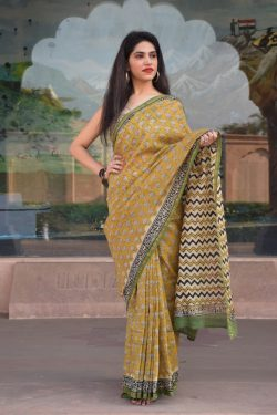 Copper And Light Olivine pure chanderi saree lowest price