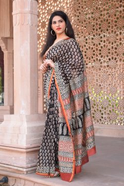 Black and carmine bagru print chanderi silk saree online