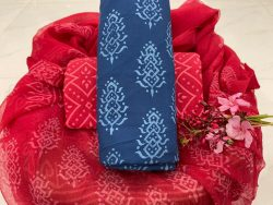 Raspberry and blue pure cotton suit with chiffon dupatta