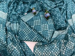 Teal Blue cotton mulmul dupatta suit set