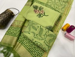 Dull Green cotton suit with chanderi dupatta