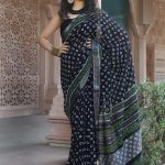 Black pure linen saree with blouse