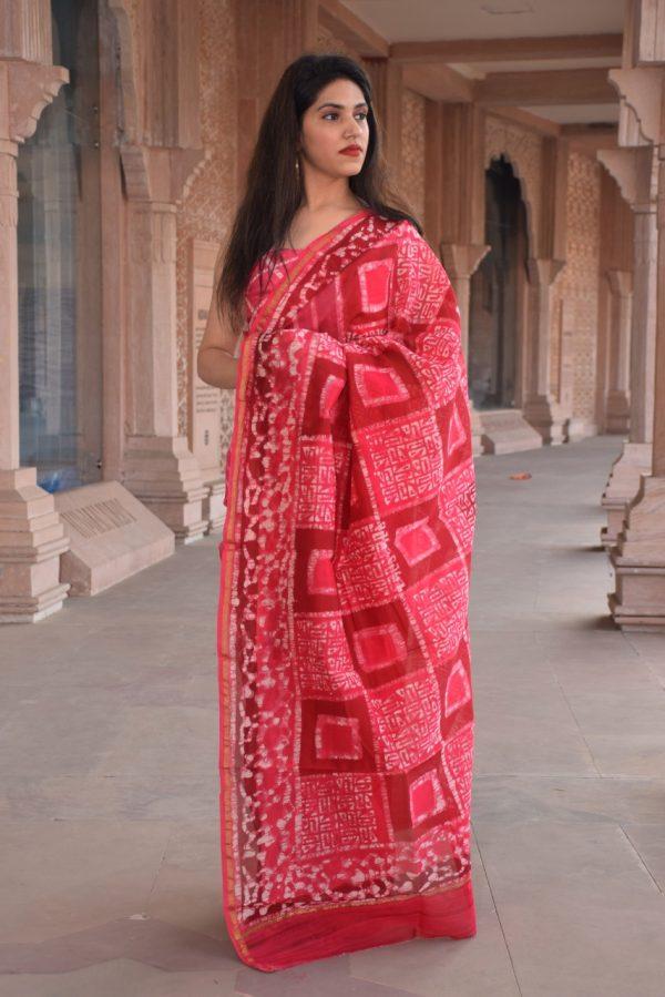 Deep Cherry Red office wear chanderi saree