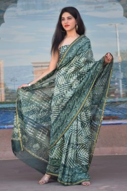 Viridian pure chanderi silk saree