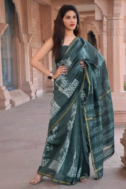 Teal party wear Chanderi silk saree with blouse
