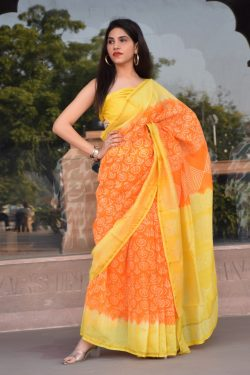 yellow and orange party wear Chanderi silk saree