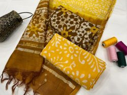 Amber and Brown ethnic wear ladies suit with chanderi dupatta