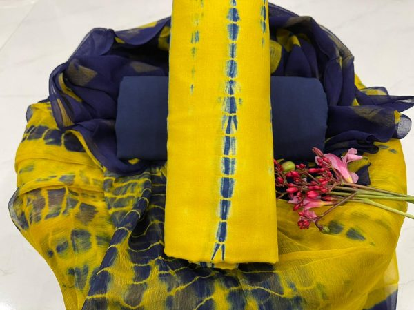 Lemon and blue cotton salwar suit with dupatta