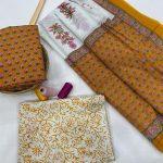 Bronze And white cotton dupatta suits wholesale