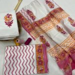 White floral print  cotton dupatta suits With dupatta online