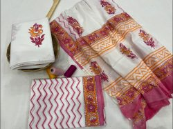 White floral print  cotton dupatta suits With dupatta online