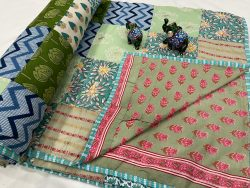 Turquoise Hand stitched AC Quilt Dohar Patch work