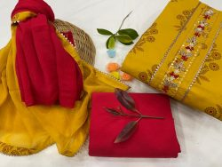 amber and crimson cotton suits printed gota hand work suit set