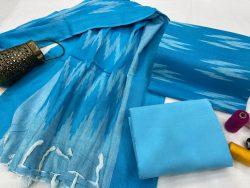 Azure hand block printed ikkat suit set