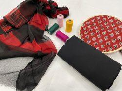 carmine and black pure cotton salwar kameez suit set