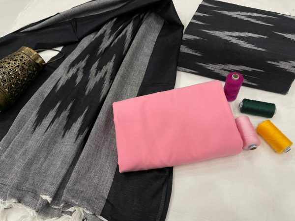 Black and pink ikkat suit for women