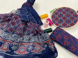Blue cotton salwar suit set with dupatta