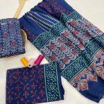Blue floral print cotton suits with cotton dupatta